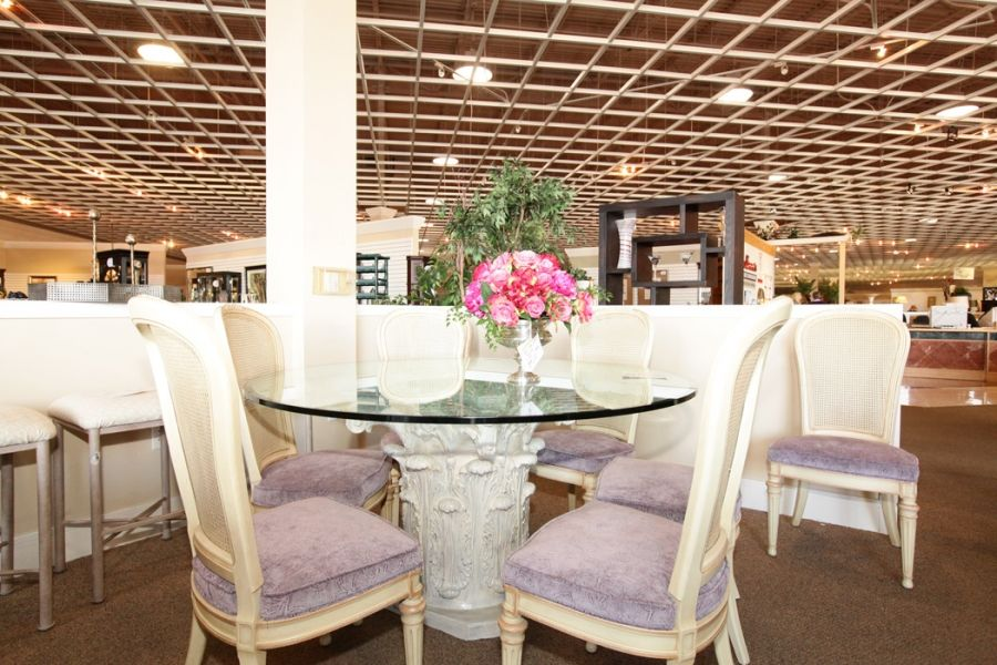 Glass Top Dining Table & 8 Chairs with Lilac Cushions - Colleen's Classic Consignment, Las Vegas www.colleenconsign.com
