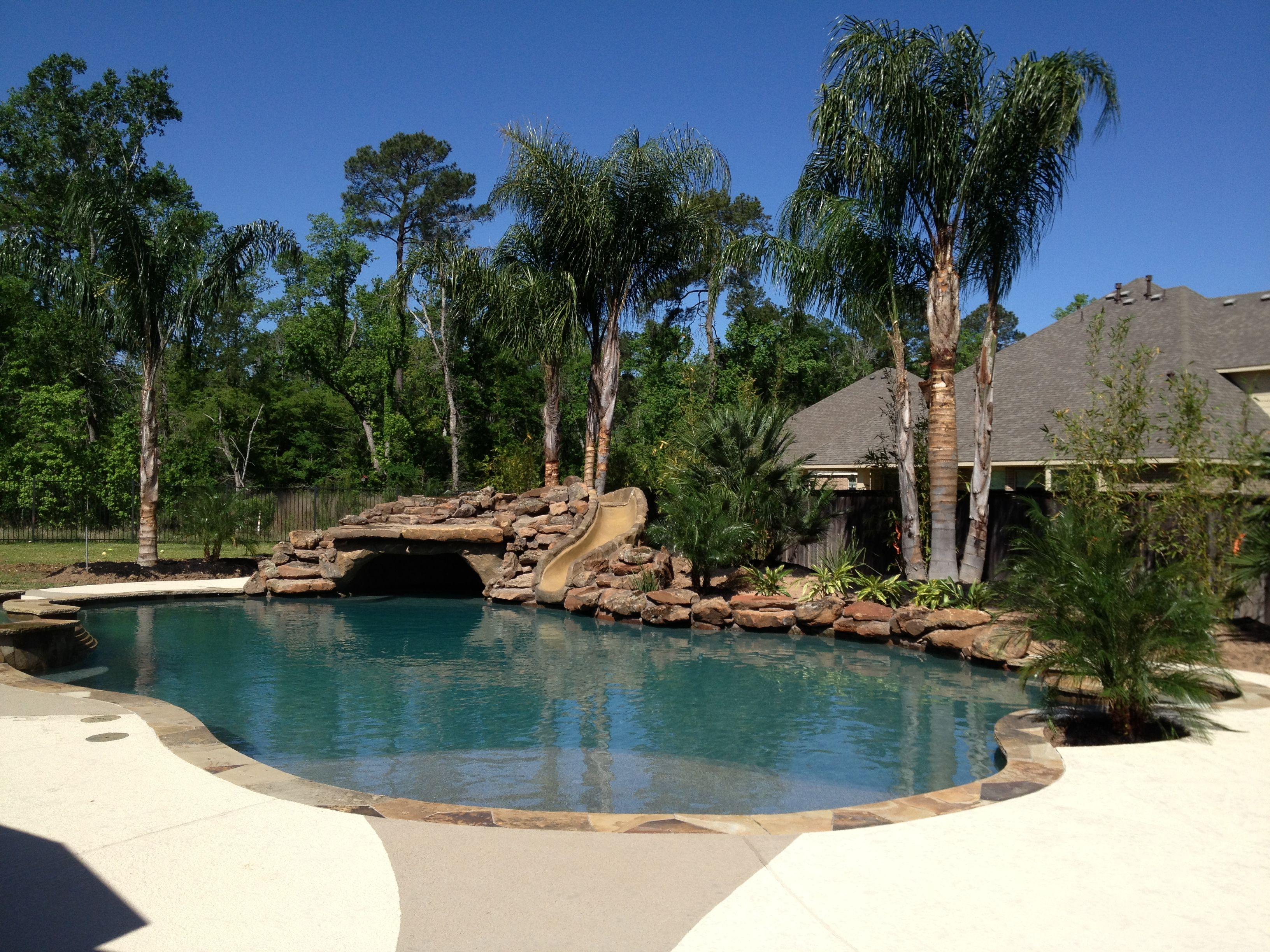 Signature Pool Conroe, Pool Idea Magnolia : Caytech Pools   Signature Pool, Rock  Slide