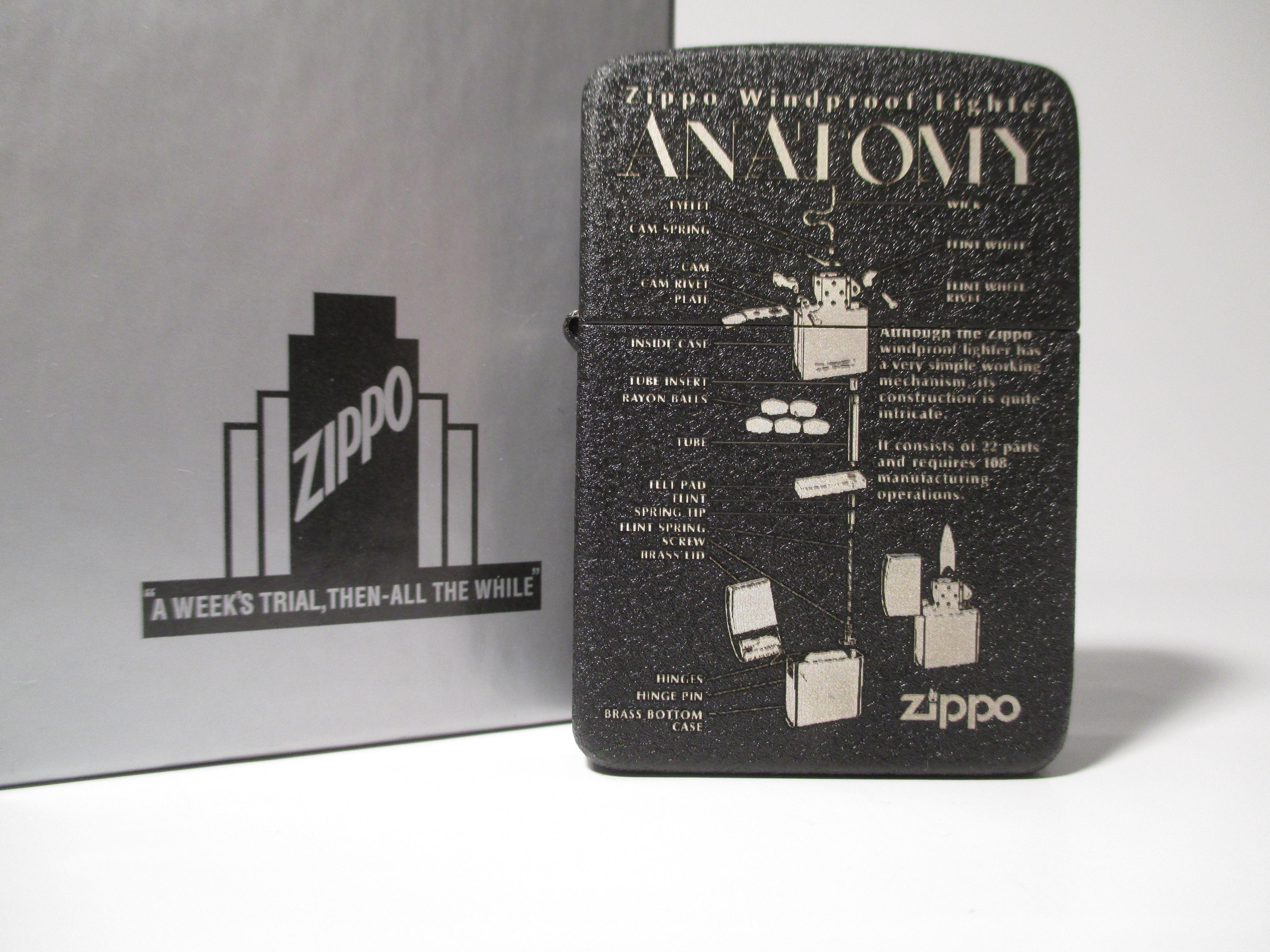 Zippo Anatomy 1941 Replica Black Crackle Custom Deep Laser Engraving