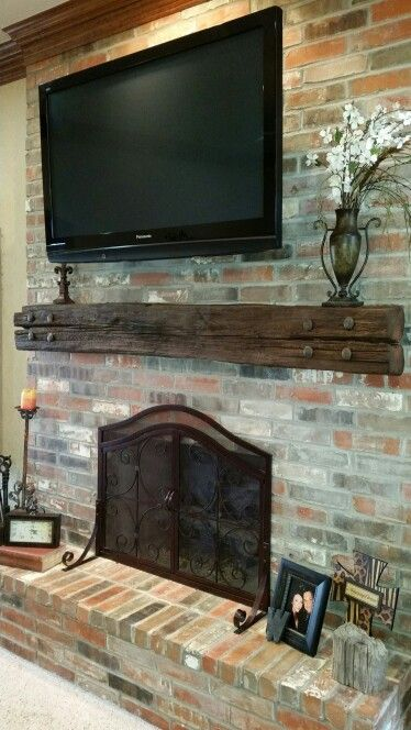 Love My New Railroad Tie Mantel Brick Fireplace Makeover Rustic Fireplace Mantle Home Fireplace