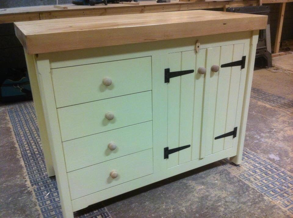 Rustic Wooden Solid Pine Freestanding Kitchen Island Double Cupboard Drawers
