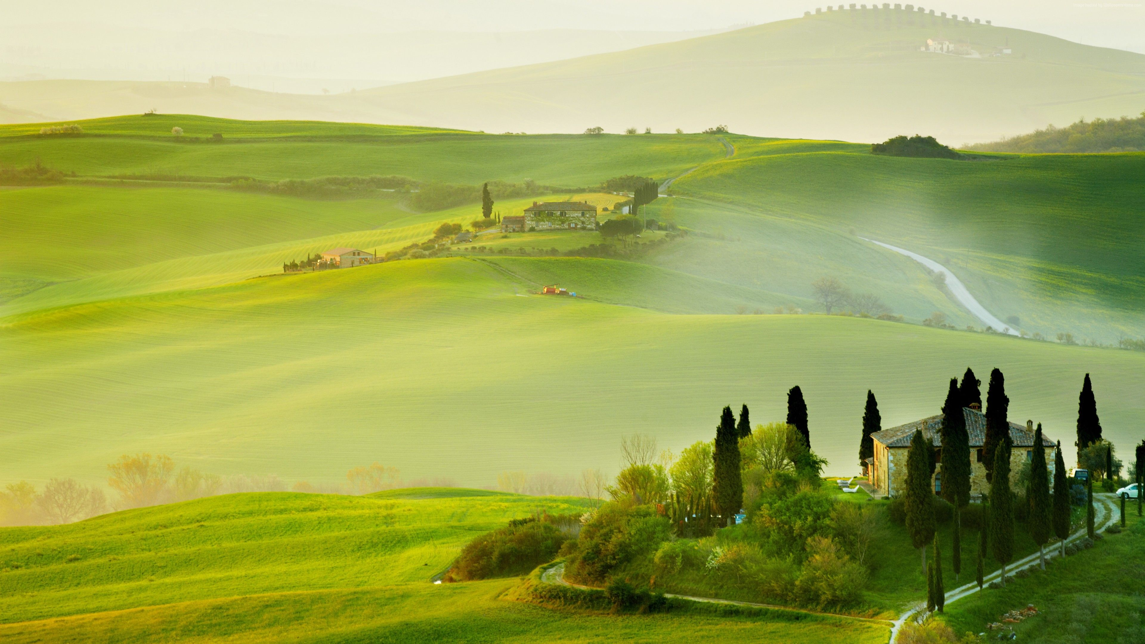 Wallpaper Tuscany Italy Europe Hills Field Fog 5k Travel With Images Landscape Wallpaper Countryside Landscape Travel Wallpaper