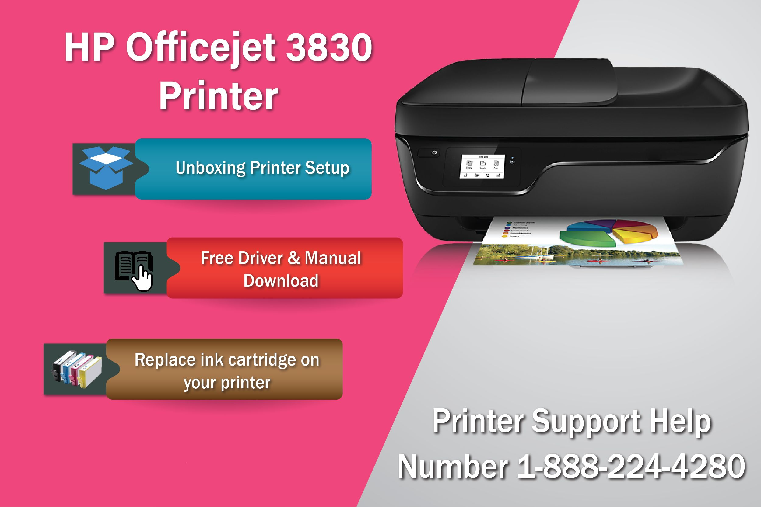 123.hp.com/setup 3830 - get instruction manual to setup your HP 3830  officejet printer, Free driver and download and Replace the ink cartridge  Call Our Toll ...