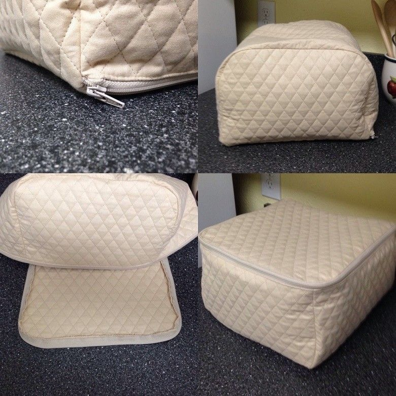 Khaki Zipper 4 Slice Toaster Cover Quilted Fabric Kitchen Small Appliance Handmade Toaster Cover Small Appliance Covers Appliance Covers