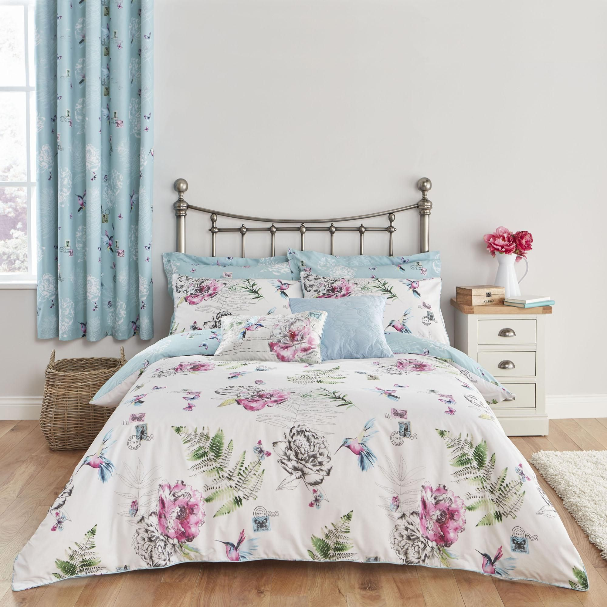 Watercolour Effect Duvet Cover With Pillowcase Polycotton Reversible Bedding Set