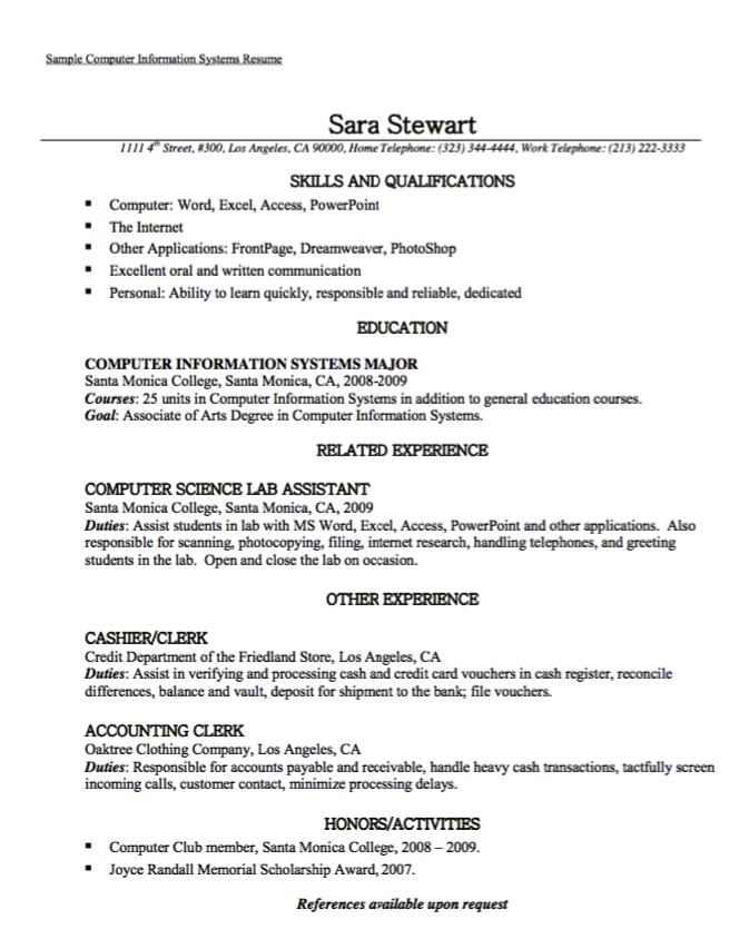 Sample Computer Information System Resume Resume Sample Resume Resume Examples