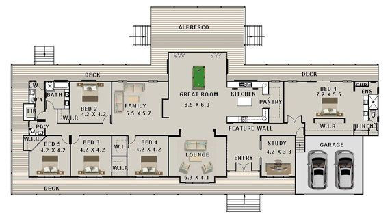 557m2 5 Bedrooms Acreage Home Plan 5 Bed 5 Bedroom Home House Plans Australia Australian House Plans Country House Plans