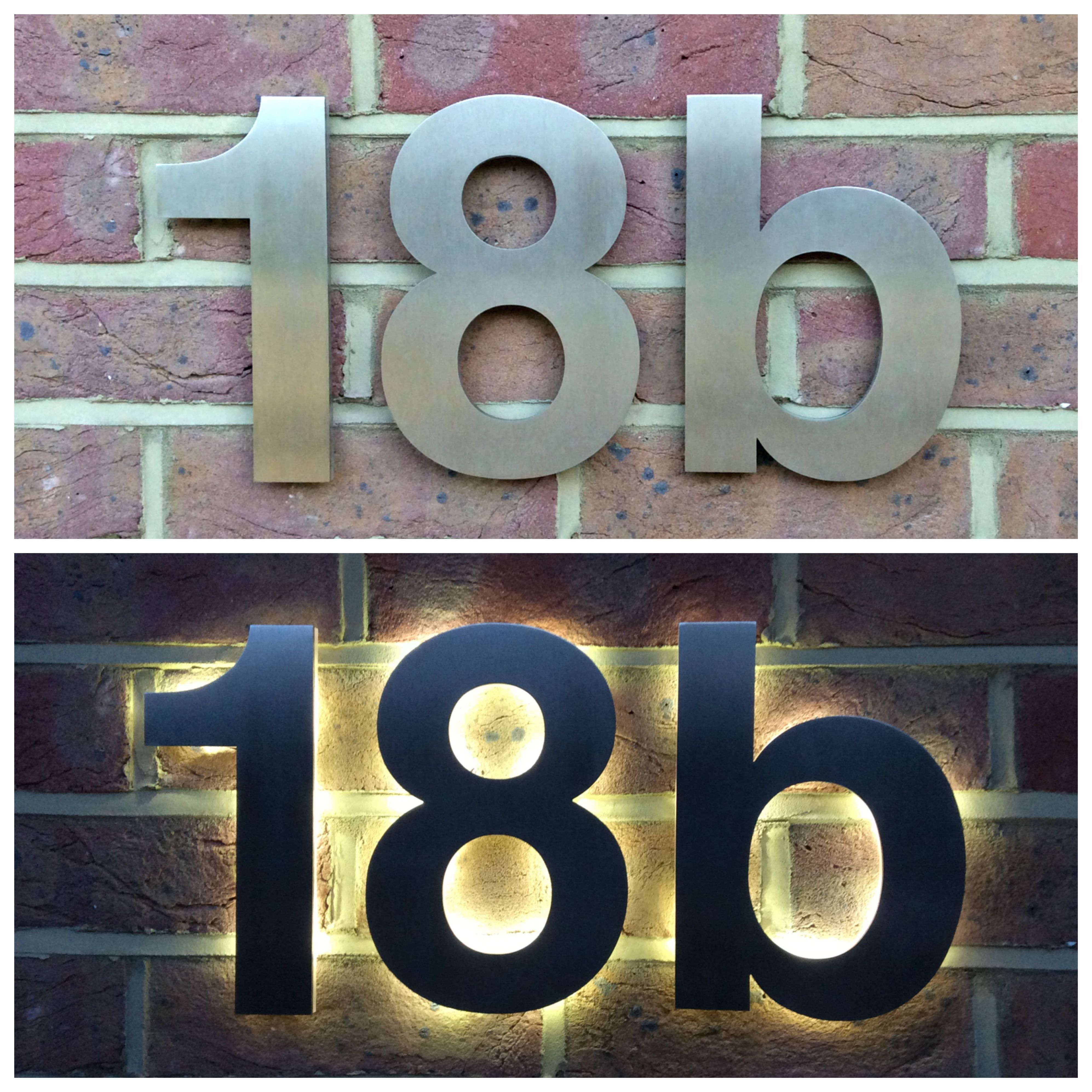 Day and night view of illuminated helvetica house numbers from day and night view of illuminated helvetica house numbers from housenumbers limited dailygadgetfo Image collections
