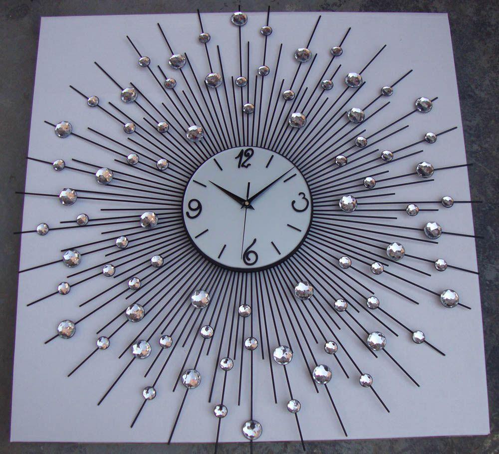 Modern designer large metal art crystal wall clock for modern designer large metal art crystal wall clock for home living room decoration amipublicfo Choice Image