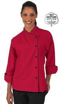 Women's Raglan 3/4 Sleeve Chef Coat - Snap Front Closure - 100% Egyptian Cotton