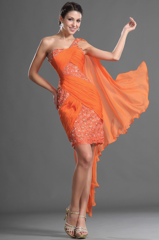 Robe de cocktail courte orange