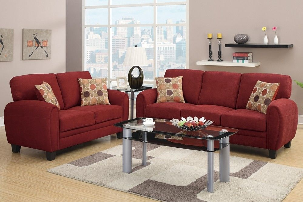 Daisy Sofa + Loveseat Burgundy Linen Sofa Set + Pillows in ...