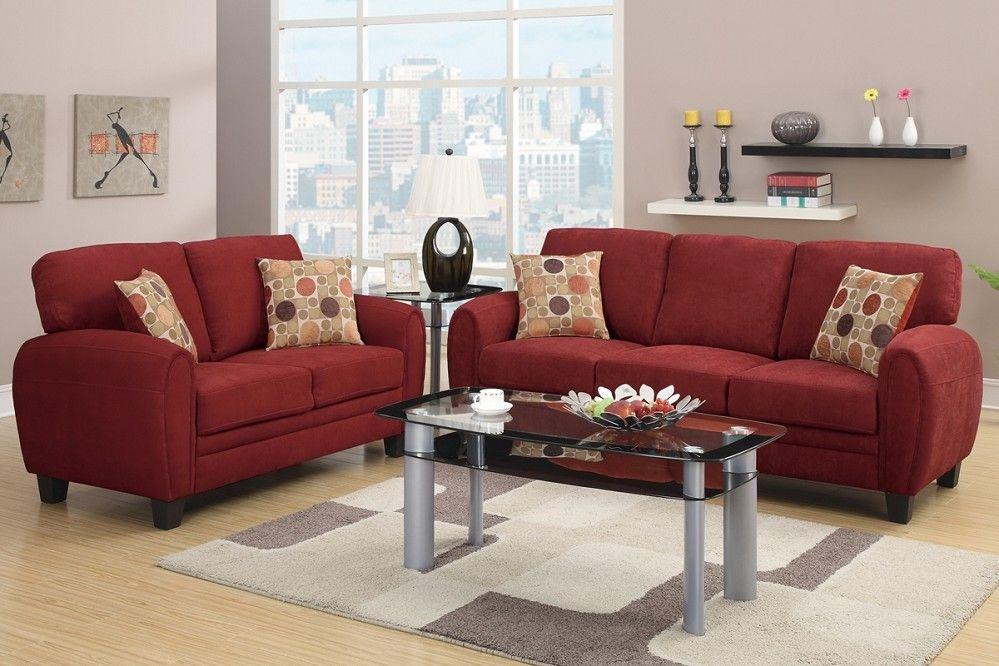 Daisy Sofa Loveseat Burgundy Linen Sofa Set Pillows Sofa And