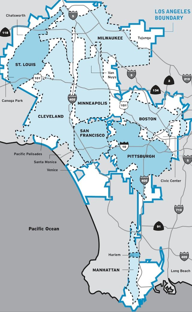 How Many Major US Cities Can Fit Inside Los Angeles City Limits - Map with major us cities