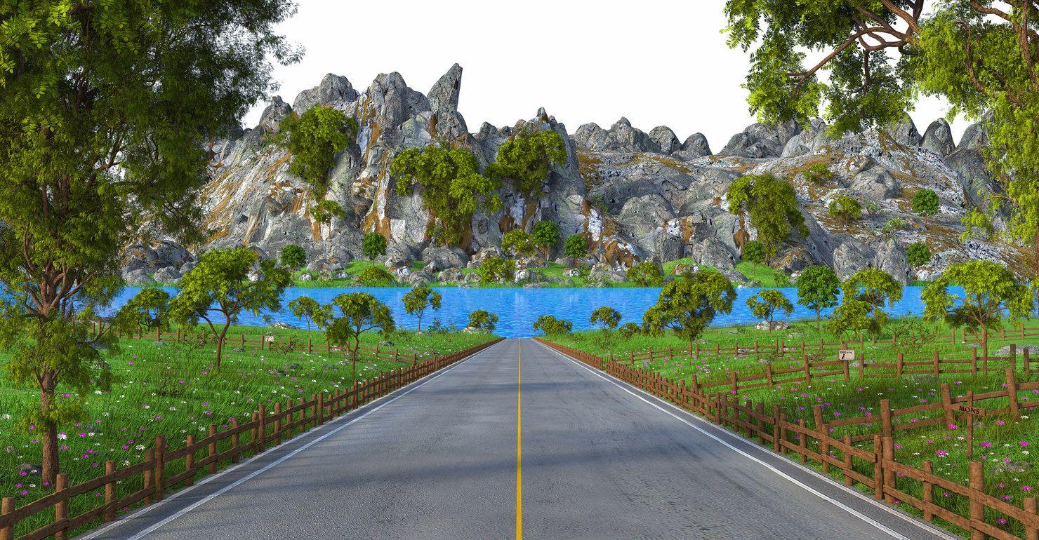 Road Landscape Lake 3d Model Turbosquid Lake Landscape 3d