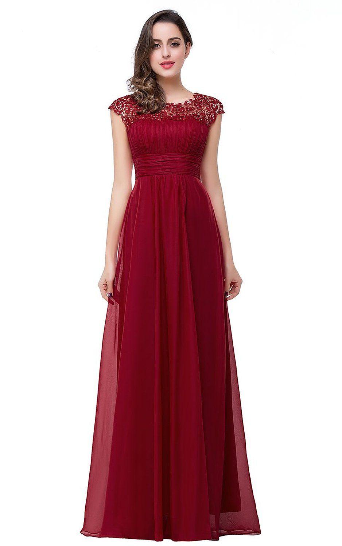 Babyonline womenus cap sleeve lace prom dress ruched chiffon evening