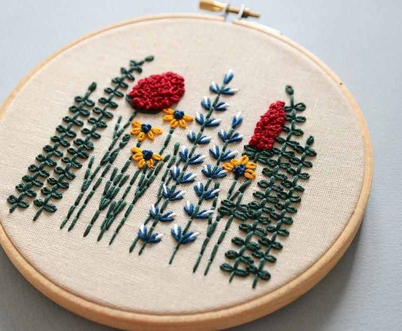 Beginner Hand Stitched Hoop -Floral Embroidery Pattern -Embroidered Flower – Hand Embroidery Pattern –  Embroidery Hoop Art