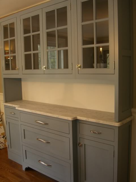 Gray painted built-in hutch w/ marble countertop. OR take the upper cabinets - Gray Painted Built-in Hutch W/ Marble Countertop. OR Take The