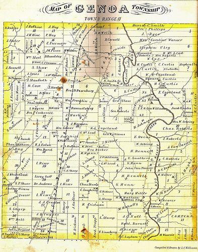 Genoa Ohio Map.Genoa Township Plat Map 1875 My Ancestors Pinterest Delaware