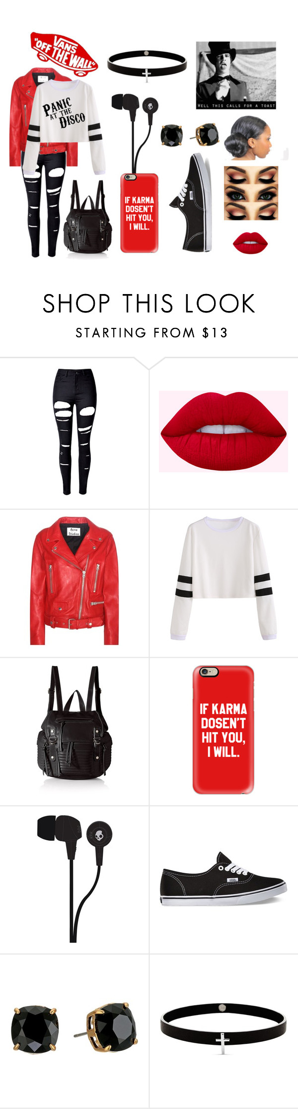 """Panic! At The Disco"" by the-0ne-and-0nly on Polyvore featuring WithChic, Acne Studios, Steve Madden, Casetify, Skullcandy, Vans, Tory Burch and Lynn Ban"