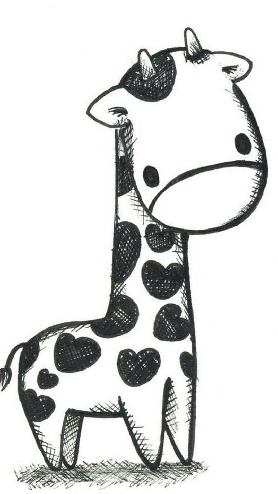 Giraffe wallpaper black and white cute giraffe drawing