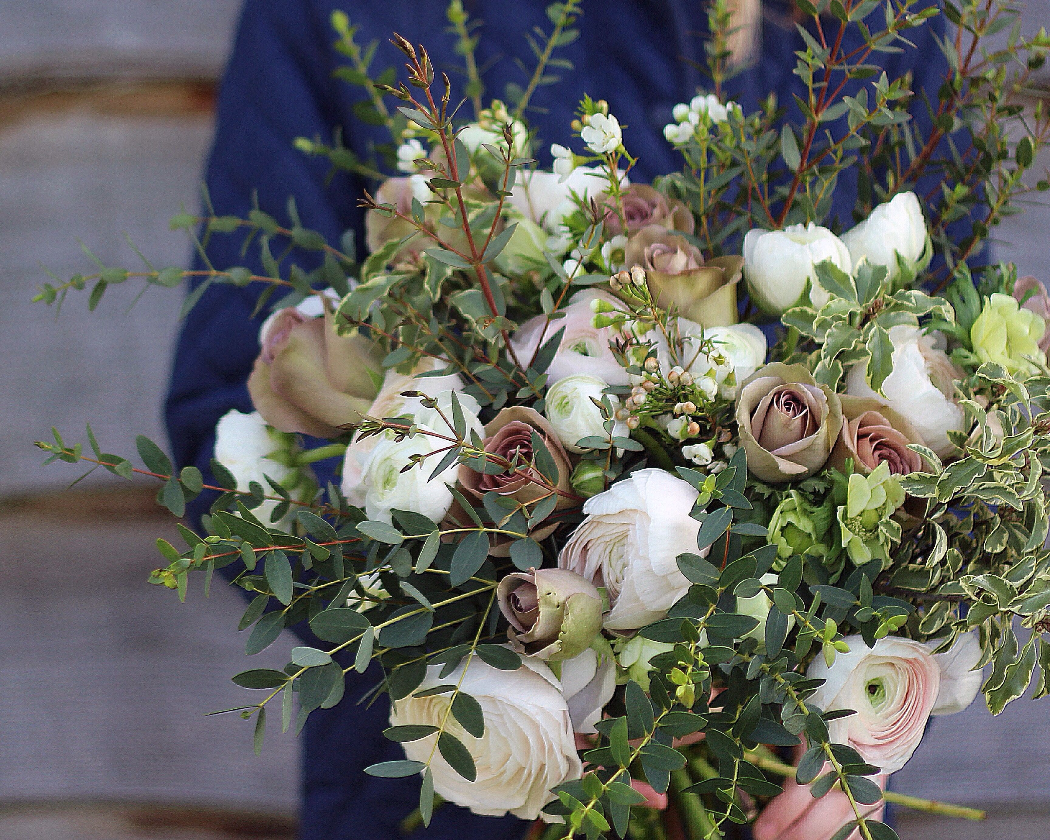 Muted Tones Bouquet With Ranunculus Amnesia Roses Wax Flower And Anemone By Pod Pip Our Signature Rustic Bouqu Rustic Bouquet Fall Wedding Flowers Flowers