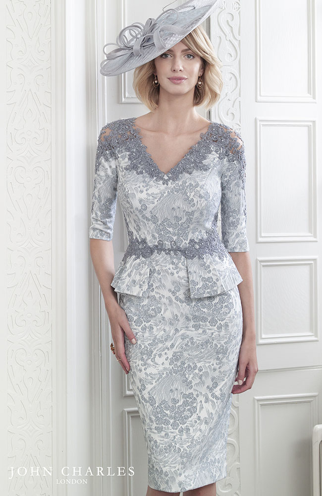John Charles 26612 Wedding Outfit In Champagne Priced 753 Jacquard Lace Mid Length Is Shaped Buy Peplum Dresses With Sleeves Dresses Cocktail Dresses Uk