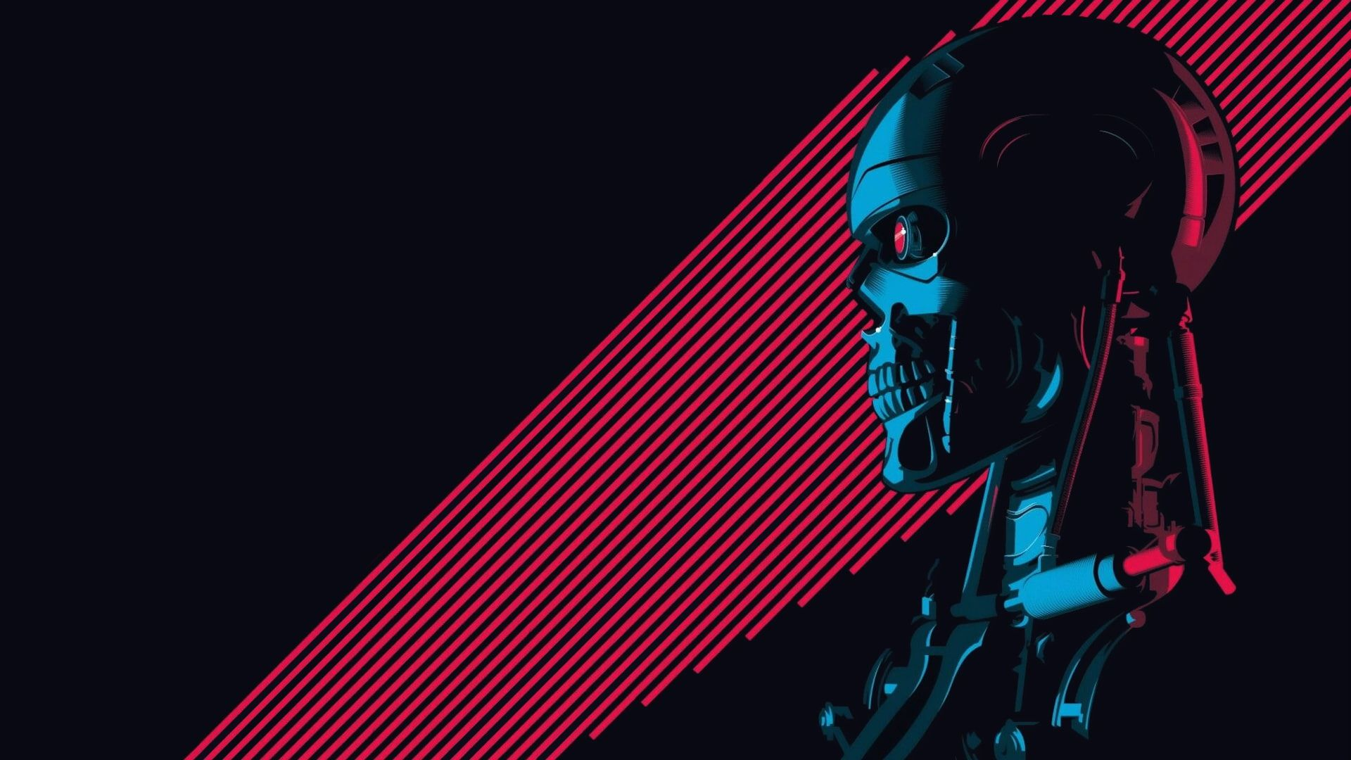 HD wallpaper: Minimalism, Figure, Background, Art, Robot, Terminator, T-800