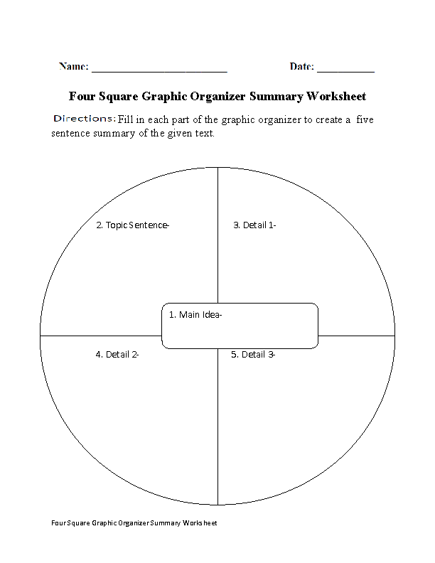 Four Square Summary Worksheet Class Ic Ideas Pinterest