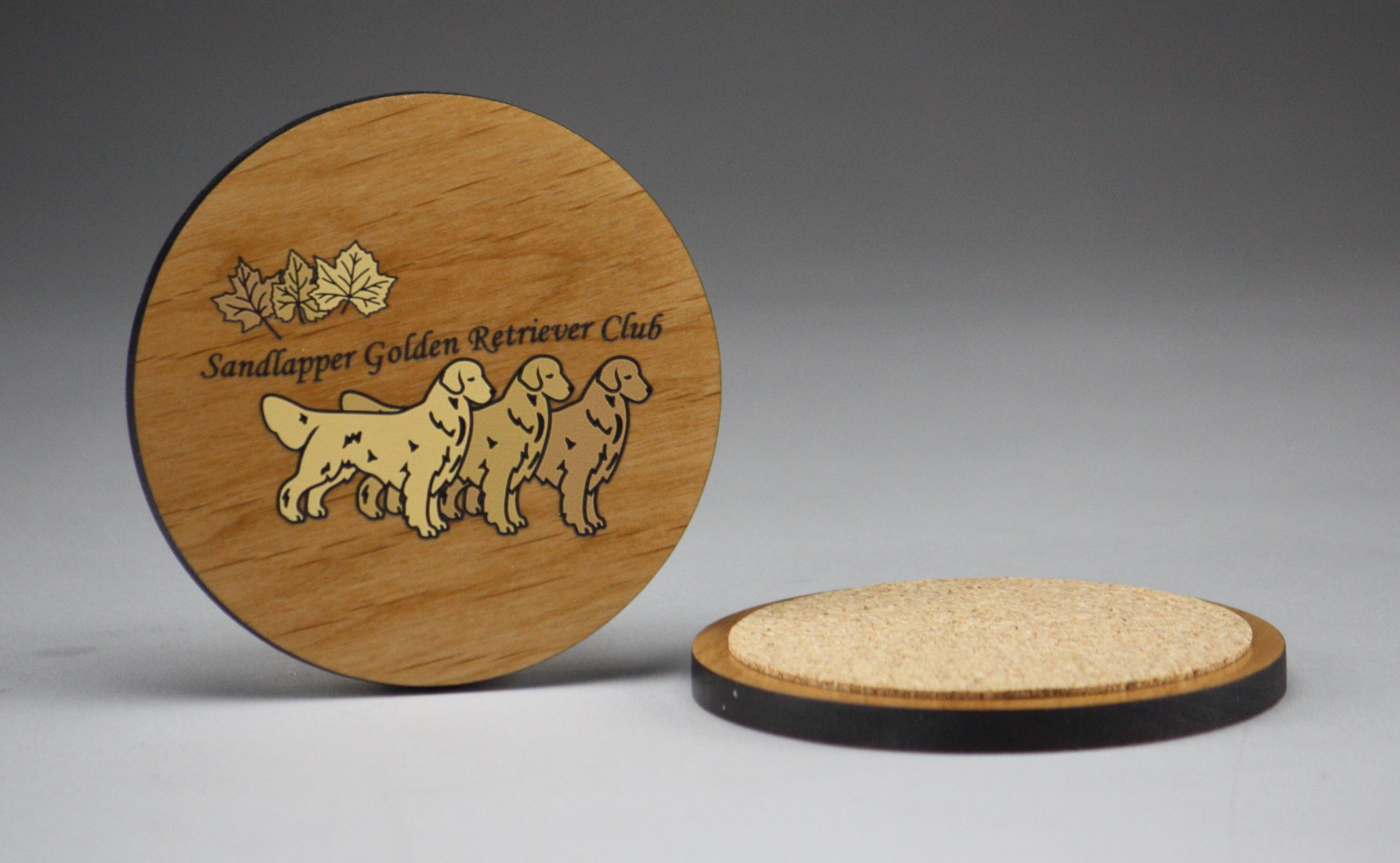Color Printed Alder Wood Coasters With Full Cork Backing Wood
