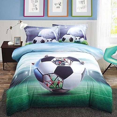 Alicemall Boys Bedding Sets Full Soccer Ball Football 100 Polyester Kids Duvet Cover Flat Sheet Pillow Cases Bed No Comforter