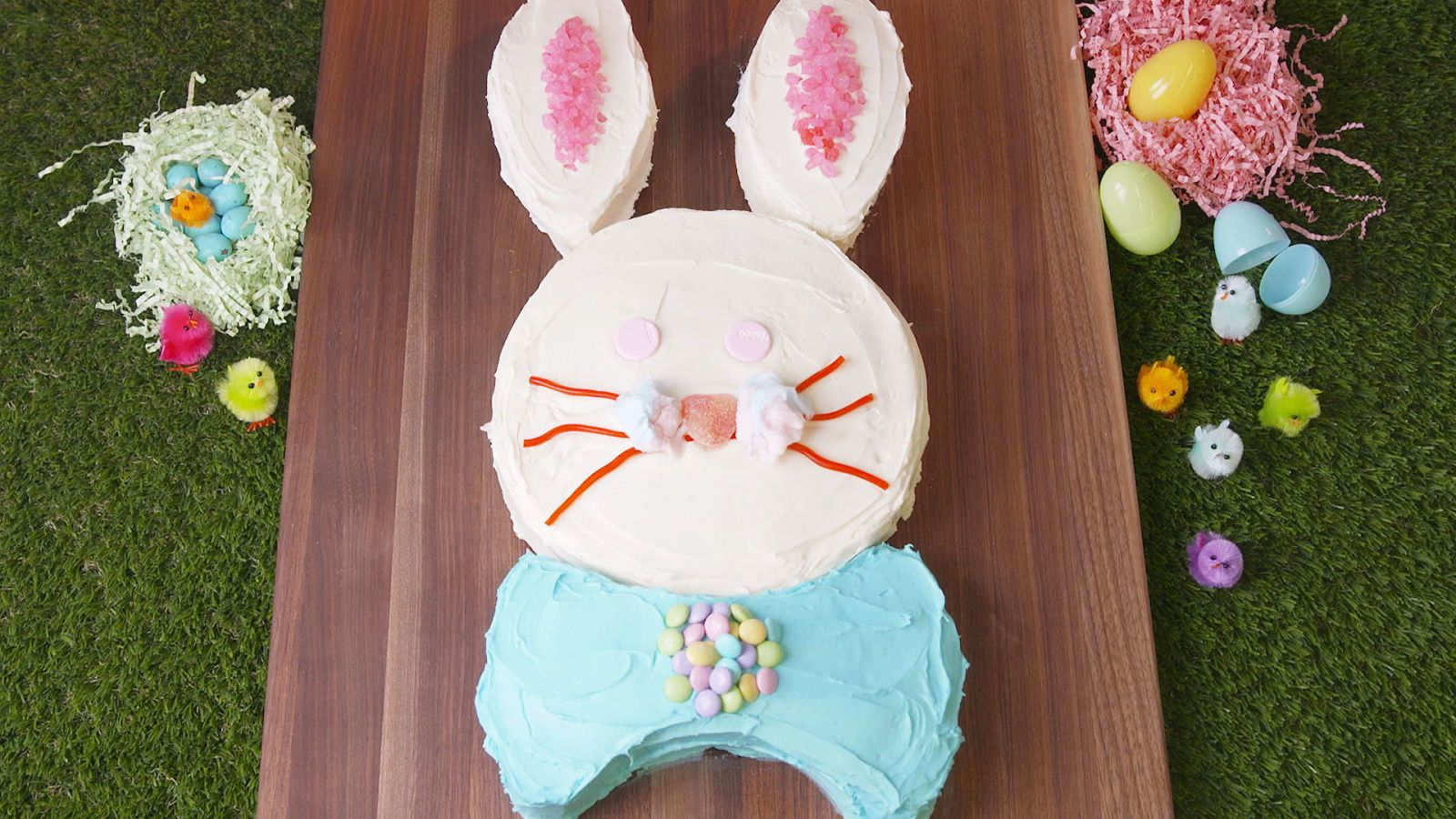 Easter Bunny Cake - Bunny cake, Easter bunny cake, Rabbit cake, Chocolate rabbit, Easter cakes, Easter - Looking for the perfect Easter dessert recipe  Look no further! This adorable bunny cake is surprisingly easy to make  All you need is a round cake pan! Check out the recipe from Delish com and have a very hoppy Easter