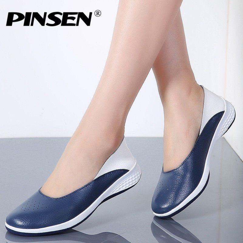 d932159742c PINSEN 2019 hecho a mano nuevo verano agujero mocasines planos de cuero de  las mujeres mocasines zapatos de mujer zapatos de las señoras zapatos  casuales ...