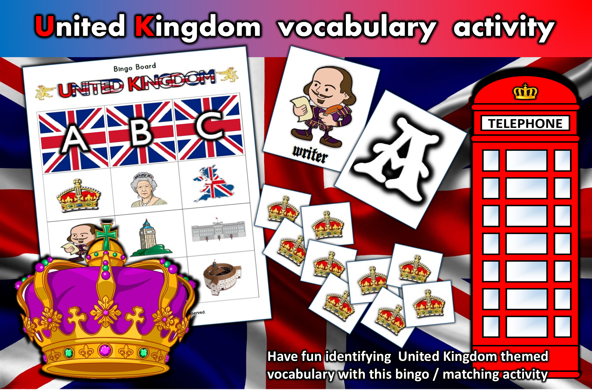 United Kingdom Vocabulary Bingo Matching Activity For
