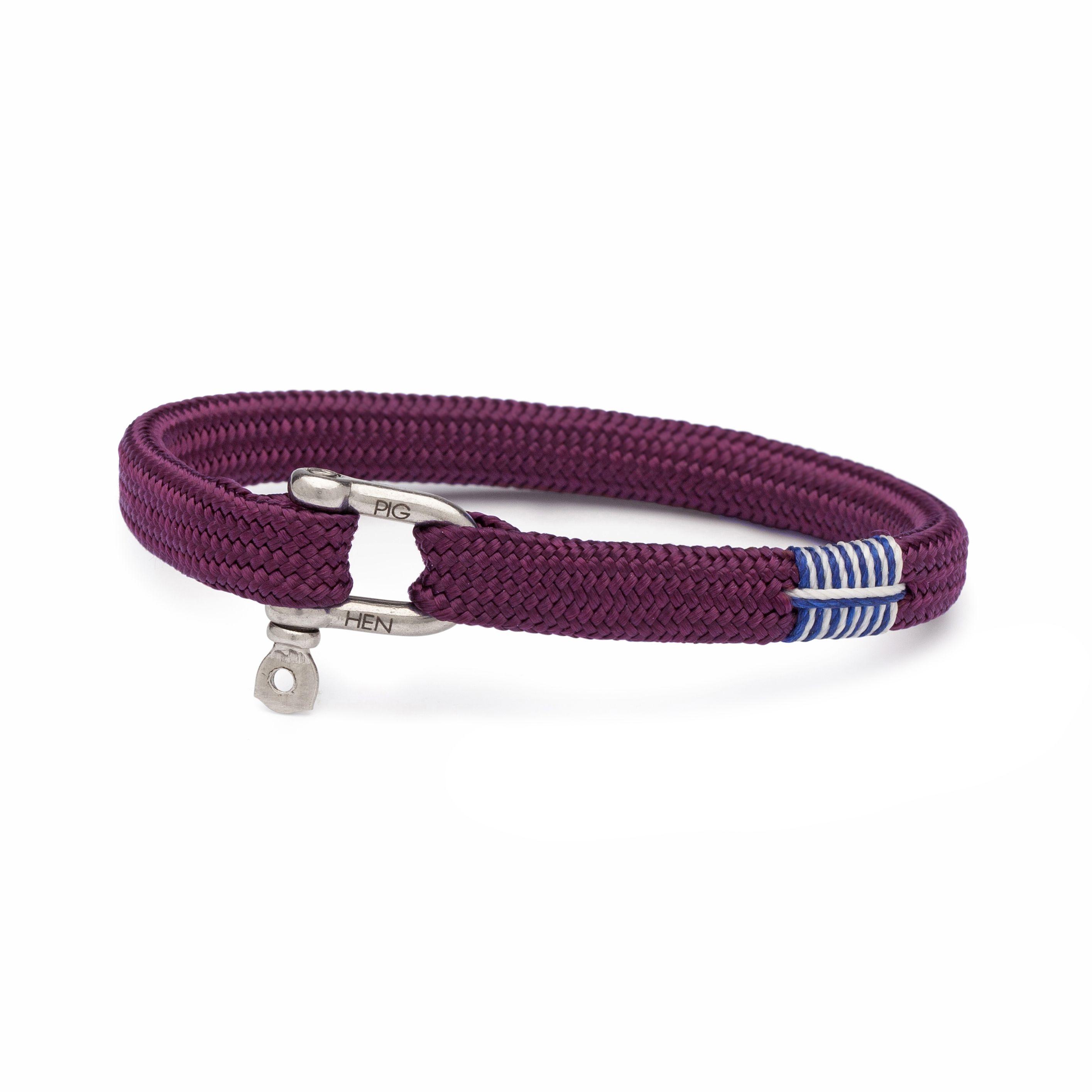 New PIG /& HEN Handmade Flat Rope Men/'s Wrist Band Bracelet Navy Size M M//L L