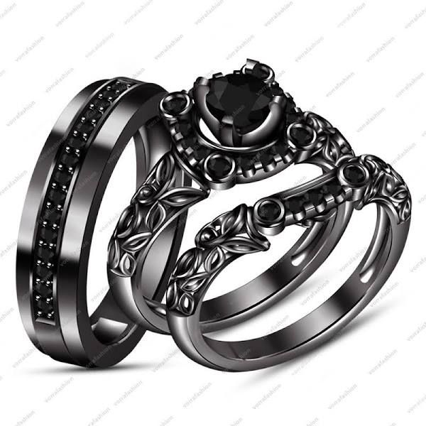 Black Gold Wedding Rings His And Hers Black Gold Jewelry Black Wedding Rings Wedding Ring Trio Sets