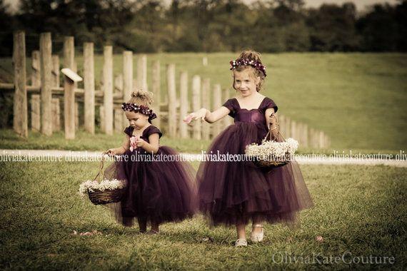 51d255c891 Plum Flower Girl Dress by OliviaKateCouture on Etsy