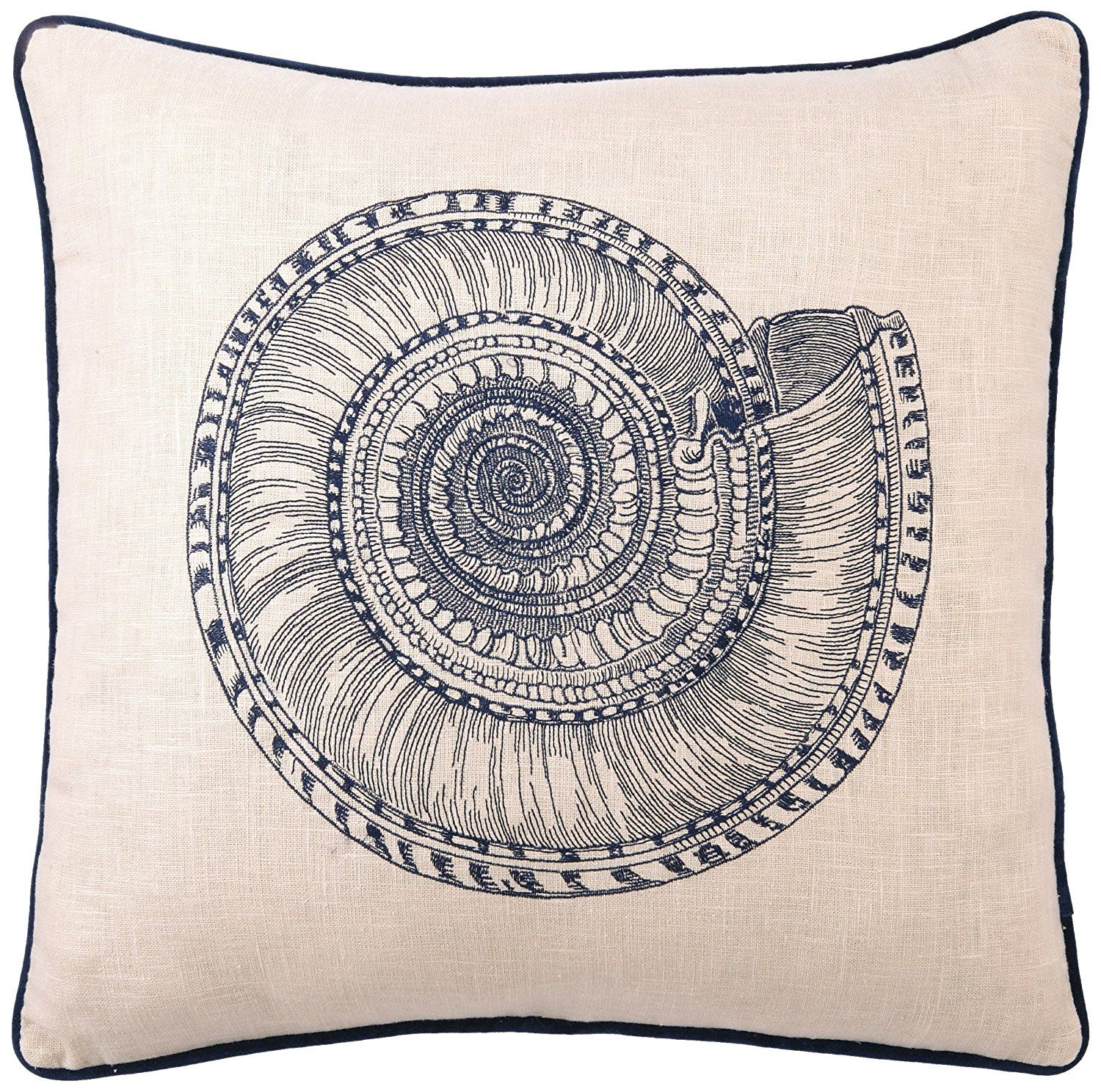 D.L Rhein Embroidered Linen Pillow, Trochus, Blue, 20 by 20-Inch >>> More info could be found at the image url. (This is an affiliate link) #HomeDecorTips