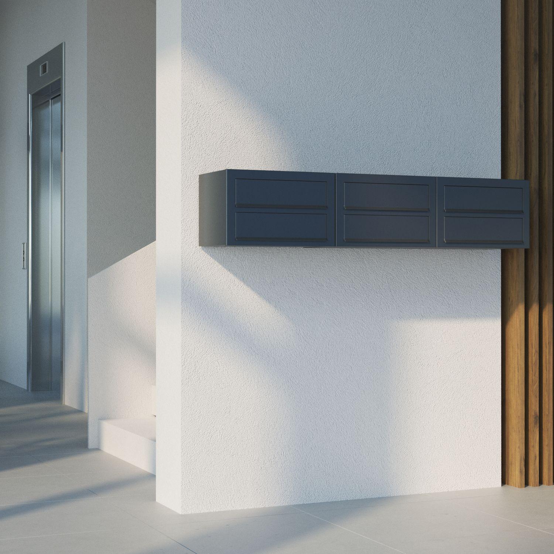 Briefkasten Bravios Design Wandbriefkasten Letter Schwarz