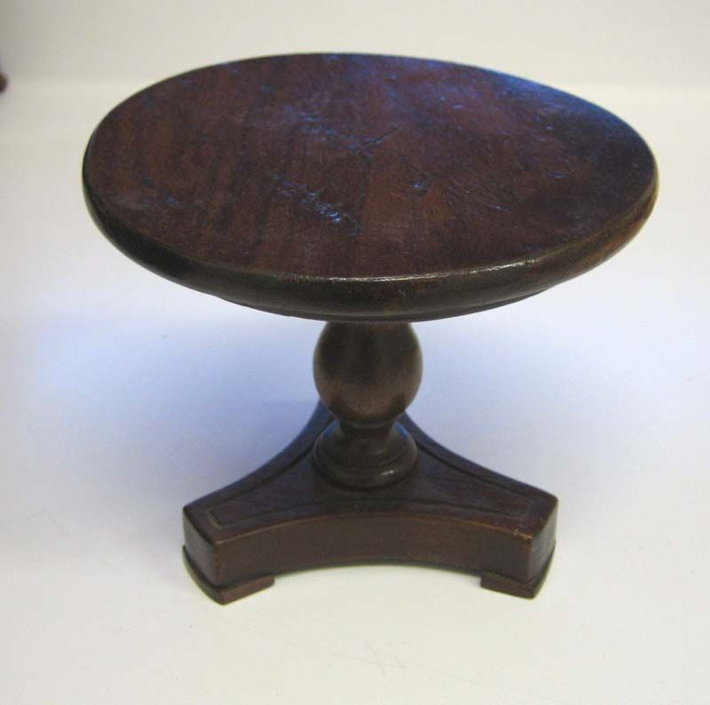 Antique toy miniature furniture small antique doll walnut table