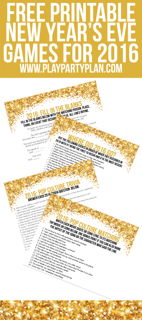 These four free printable 2016 New Year's Eve party games ...