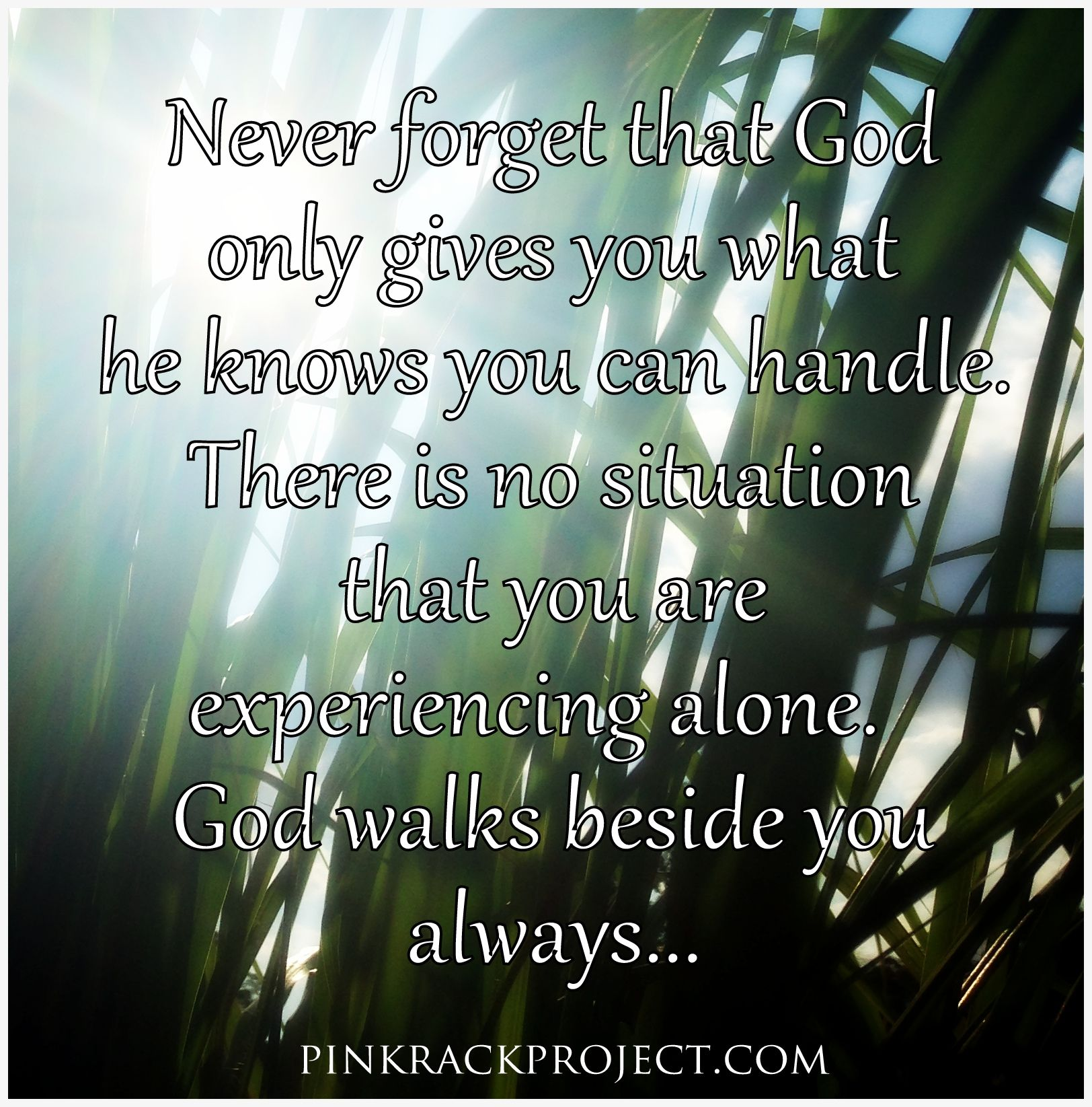 Never Forget That God Only Gives You What He Knows You Can Handle
