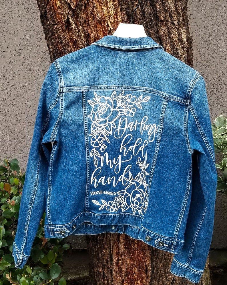 Song Lyric W Flowers Custom Mrs Jacket Bride Denim Etsy Hand Painted Denim Jacket Denim Jacket Denim Jacket Embroidery [ 993 x 794 Pixel ]