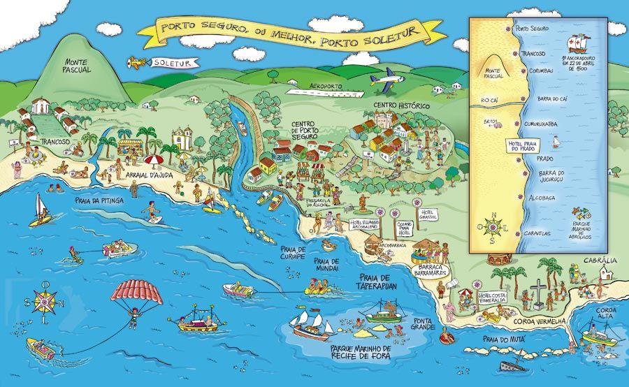 Resultado de imagen para mapa turistico de porto seguro