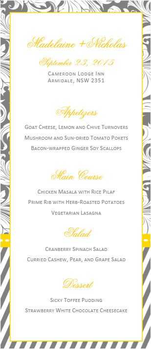 DIY Printable MS Word Wedding Menu Template W022 Gold by Inkpower - ms word menu template