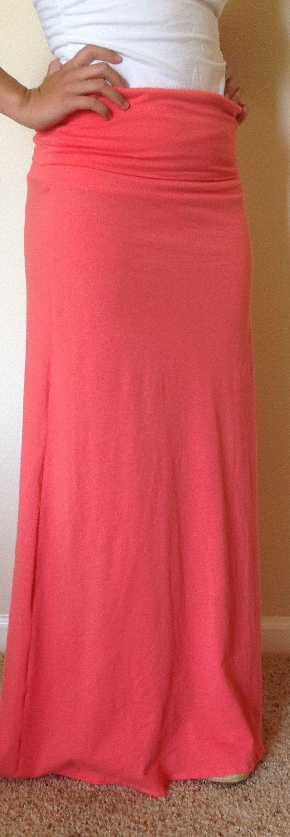 Coral maxi skirt summer skirt maxi skirt skirt by SeasonsApparel ...