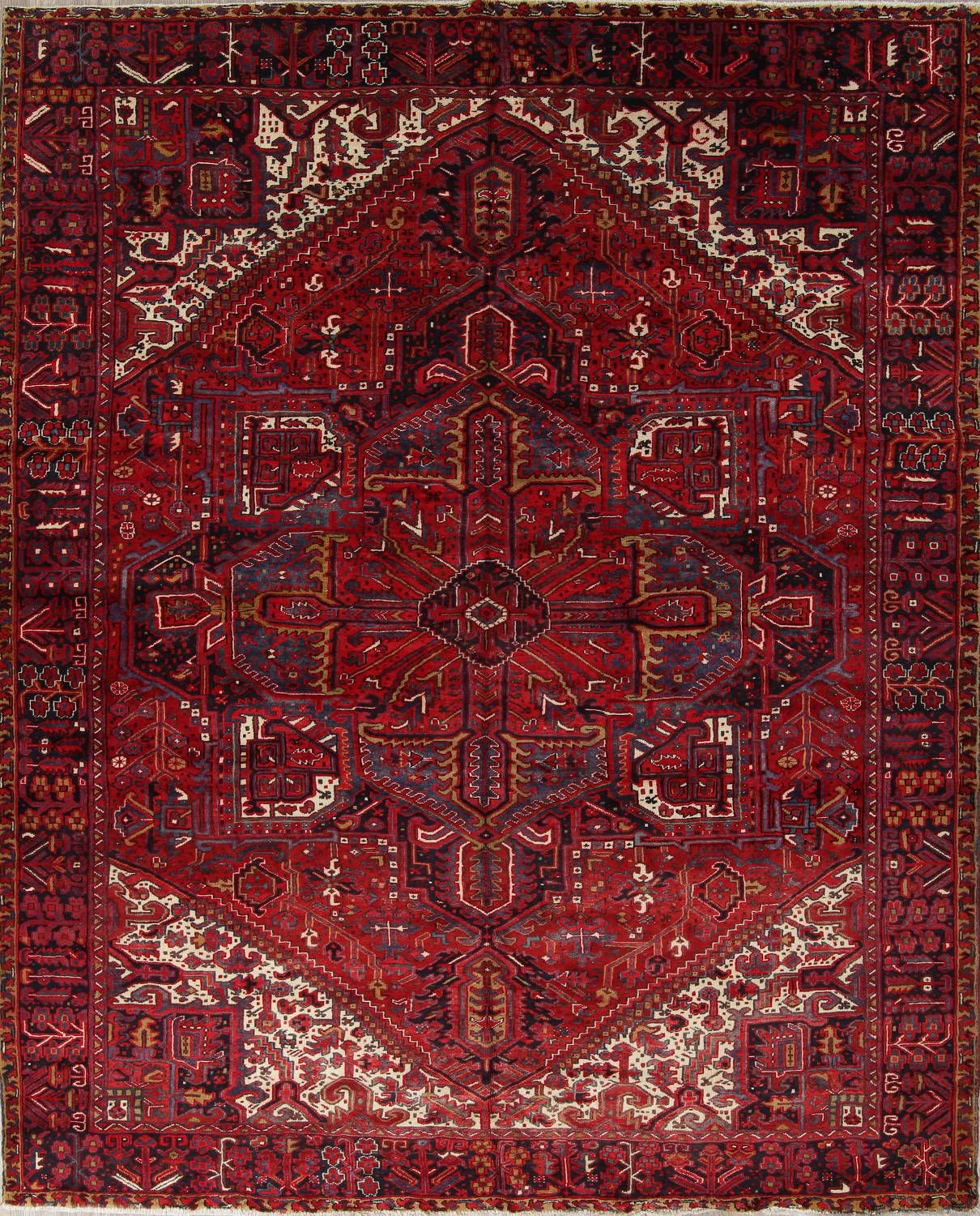 Geometric Red Heriz Persian Hand Knotted 10x13 Wool Area Rug Wool Area Rugs Rugs Area Rugs