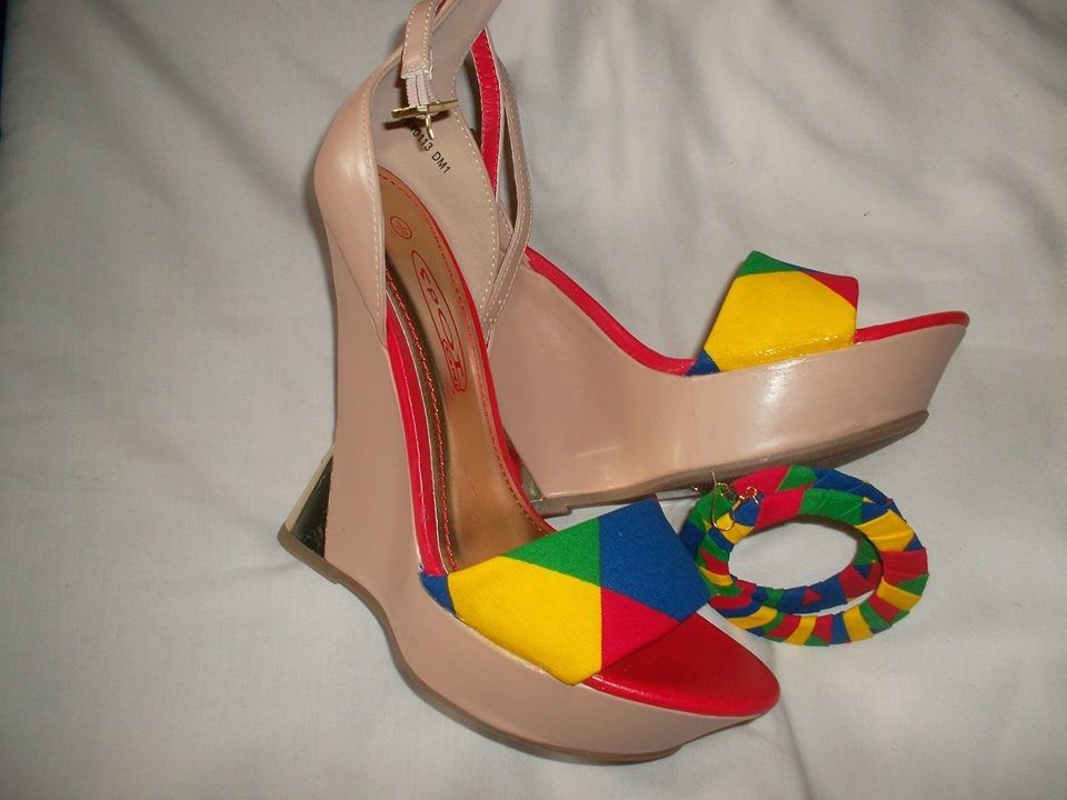 Size 6 wedges covered with multicoloured denim with matching earrings