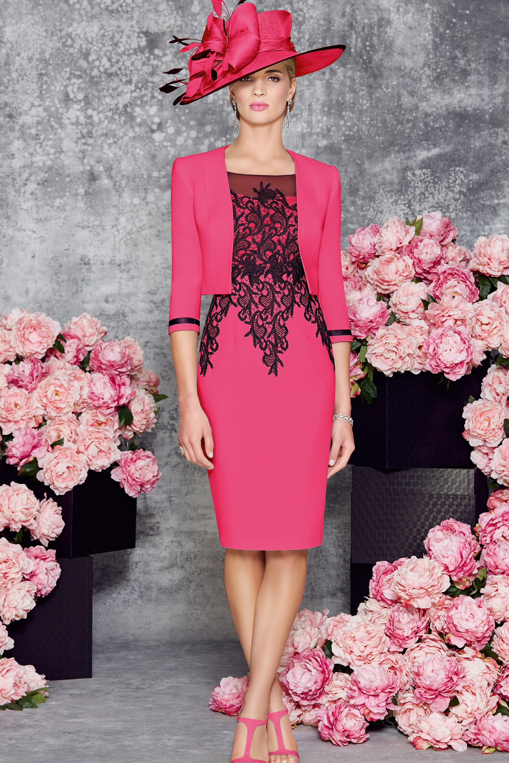 Short fitted dress with contrasting lace detail and matching jacket ...