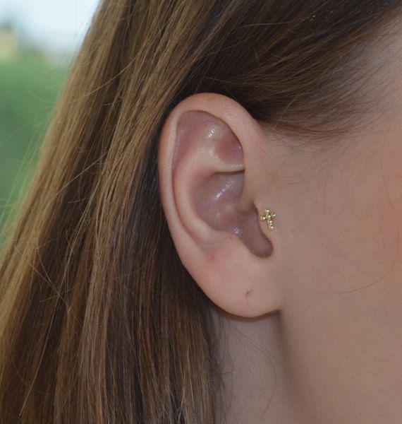 Gold Tragus Earring, Tragus piercing, Cartilage earring ...